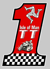 NUMBER ONE TT ISLE OF MAN BIKER 100mmX70mm AUTOCOLLANT STICKER MOTO (IA022)