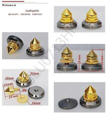 4x Spike Cone 4x Black Base Pad Shoe Isolation Turntable Speaker HiFi Sound Kit
