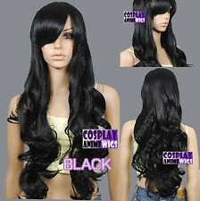 80cm Black Heat Styleable Curly Long Cosplay Wigs 967_001