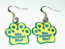 Pet Adoption Paw Earrings HANDMADE PLASTIC CHARMS Dog Cat Puppy Kitten Rescue