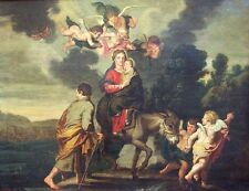 Theodoor Van Thulden 17C Flemish Old Master Oil Copper Flight To Egypt COA