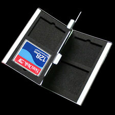 Silver Aluminum CF CompactFlash Memory Card Protecter Storage Box Case Holder