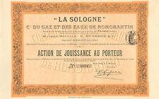 """"""" La Sologne """" Cie. du Gaz et des Eaux de Romorantin, accion, Romorantin, 1914"""
