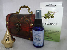WITCHES SMUDGING CHEST white sage incense holder smudge spray kit pagan gift