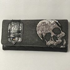Loungefly Checkbook Wallet Denim Quilted Simulated Leather Skull Design Trifold
