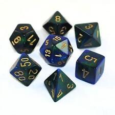Chessex Polyhedral 7-Die Gemini Dice Set Blue Green with Gold CHX 26436