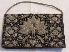 Vintage ART DECO INDIA Black Velvet Silver Gold Peacock Embroidered Evening Bag