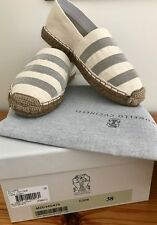 NEW Brunello Cucinelli shoes flats espadrilles 38It 5UK cream monili