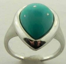 LADIES GENUINE PEAR SHAPED STERLING SILVER TURQUOISE RING NEW SIZE 10