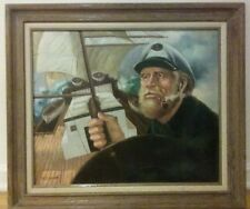 """Old sea  captain 80s oil on canvas. 26""""x30""""   old wood frame Billy Wilder signed"""