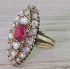 GEORGIAN RUBY & ROSE CUT DIAMOND NAVETTE BOAT RING - 15k GOLD - ANTIQUE c 1830