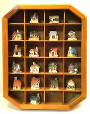 19 Miniature Ceramic English Country Cottages in Wooden Curio Cabinet 1997