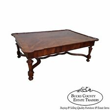 Alfonso Marina Large Scalloped Top Yew Wood Inlaid Coffee Table