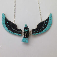 Sterling Silver Navajo Handmade Inlay Black Jet & Turquoise Large Eagle Necklace