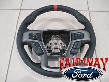 17 F-150 OEM Ford Black Leather w/ Red Stitching Non-Heat Steering Wheel RAPTOR