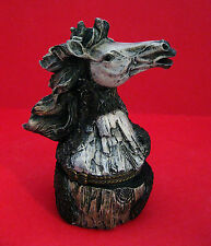Trinket Box -  HORSE HEAD Carved in Tree #2 Light Gray Face Resin Hinged