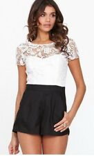 Lipsy Sexy Wax Lace Top Playsuit Black And White Jumpsuit Size 10 Party Clubbing