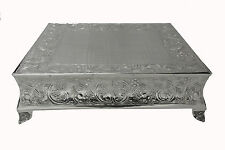 "GiftBay Wedding Silver Cake Stand Square 22"" Built Strong for Multilayer Cake"