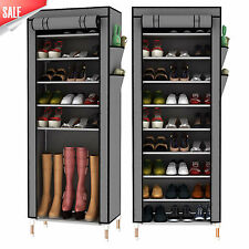 Dustproof 10 Tier 27 Pairs Shoes Cabinet Storage Organizer Shoe Rack Stand -GREY