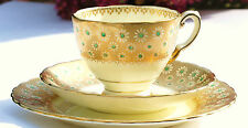 Tuscan Gold Floral Teacup Saucer Trio Art Deco English Vintage China  Tea Party
