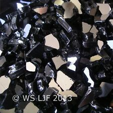 "10 LBS 1/4"" Black Reflective Fireglass Fireplace Glass Rocks Fire Pit Crystals"