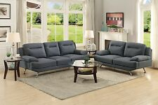 Modern Blue Grey Fabric Sofa and Loveseat Set Reception Office