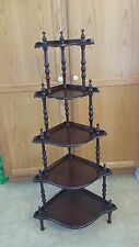 VINTAGE WOOD CORNER STANDING DISPLAY SHELF 5 TIER VICTORIAN STYLE WITH SPINDLES