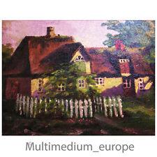 Öl gemälde Haus Garten undeutlich signiert Leinwand oil on canvas house garden