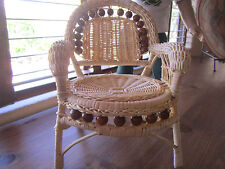 Nice & Sturdy WICKER CHAIR features Decorative Wood Beads fits American Girl