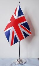 """UNION JACK DELUXE SATIN TABLE FLAG 9""""X6"""" CHROME POLE & BASE Stands 15"""" high UK"""