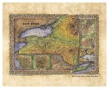"""""""1867 County Map of New York State"""" Lisa Middleton Artistically Enhanced Map"""