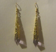 lavender PURPLE VICTORIAN STYLE EARRINGS GOLD PLATED FILIGREE ACRYLIC 7CM