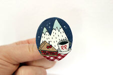 Handmade Twin Peaks Mountain Cherry Pie Coffee Badge Brooch indie lynch cool