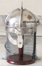 Medieval Viking Spectacle Armour Helmet With Chainmail & Free Wooden Stand