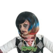 Girls Punk Zombie Wig Black Hair Blue Red Blonde Streaks Costume Childs Kids