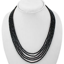 TOP RARE 177.00 CTS NATURAL 5 LINE BLACK SPINEL ROUND BEADS NECKLACE - GEM EDH