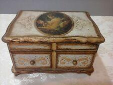 Toleware Decorative Arts Florentine Wooden Music Jewelry Box Women Cameo on Lid