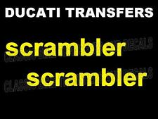 Ducati Scrambler Side Panel Transfers Decals Motorcycle Sold as a Pair Yellow