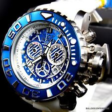 Invicta Sea Hunter III Blue 70mm Full Sized Rubber Swiss Movt Chrono Watch New