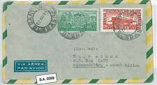 TRAINS  HERALDRY  FLAGS: BRAZIL - AIRMAIL COVER to SOUTH AFRICA  1954