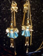 Betsey Johnson RARE Earrings FAIRY ANGEL BALLERINA Bow Wand Crystal Dangle Charm