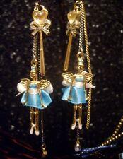 Betsey Johnson RARE Earrings FAIRY ANGEL BALLERINA Bow Wand Crystal Dangle Charm