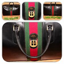 CHIC GUCCI BLACK VINTAGE EXTRA LARGE SOFT LEATHER GREEN & RED WEB LUGGAGE!
