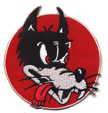 Hot Rod Patch Lone Wolf badge Red Retro Cartoon Head Motorcycle car Club Iron On