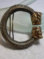 """Heavy Vintage Silver & Brass Cat Belt Buckle 2 3/4"""""""