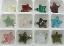 Wholesale Lot 12pcs MIX Natural Stone pentagram Gemstone Necklace Pendant