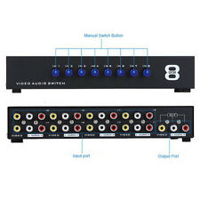 8 In 1 Out Composite Video Audio 3 RCA AV Switch Switcher Selector Splitter Box