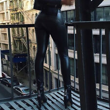 Fashion Sexy Women Leather Leatherette Leggings Black Trousers Pants TOP Sale