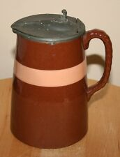 Antique Brown Glazed Pewter Lidded Jug - Good Condition - Victorian / Edwardian?