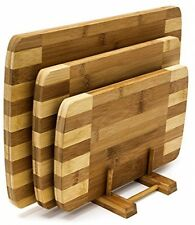 Chopping Board Set of 3 Cutting Boards with Storage Stand Wooden Bamboo